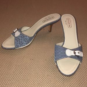 Coach blue Ashleigh monogrammed heeled sandals